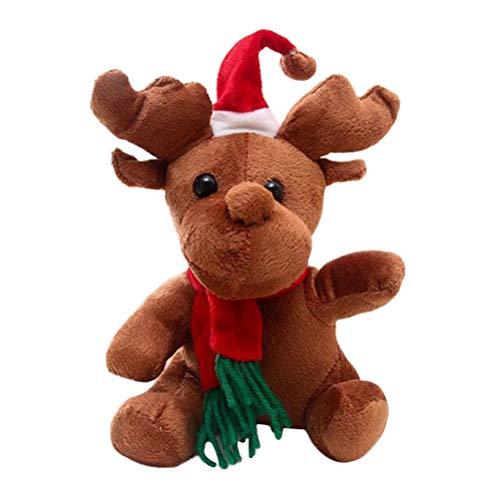 Toyvian Giocattoli Musicali di Natale Peluche Figurine di Alce Figurine Bambole di Natale Giocattoli di Peluche di Natale 16cm (con Canzoni di Natale)