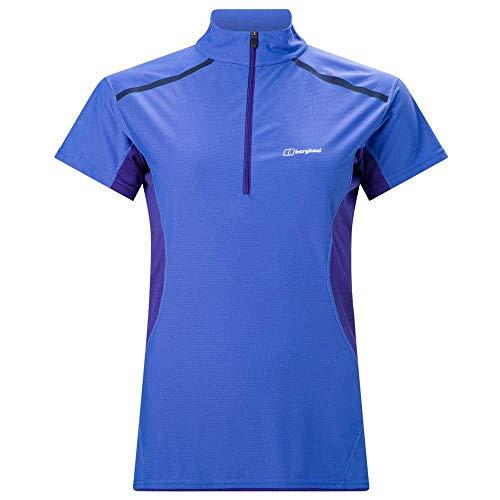 Berghaus Super Tech Tee Base Zip SS Women amparo blue/spectrum blue UK 10 = EU 36