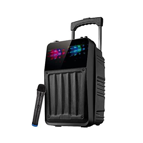 LHK Máquina de Karaoke portátil, Altavoz Bluetooth con micrófono inalámbrico, Radio FM, Control Remoto, Pantalla HD de 8 Pulgadas, Radio FM, Fiestas