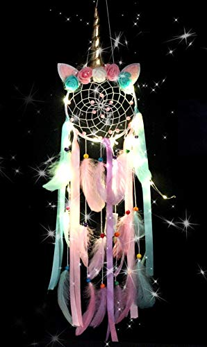 ButerDem Atrapasueños de unicornio para niños y niñas, LED, hecho a mano, plumas y flores, atrapasueños, para guardería, dormitorio, decoración, regalo, tejido a mano (dorado)