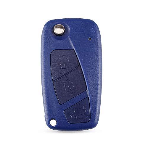 para FIAT Iveco Punto Ducato Stilo Panda Idea Doblo Bravo 2/3 Botones Flip Remote Car Key Case Shell Cover Negro/Azul 3ButtonsBlue