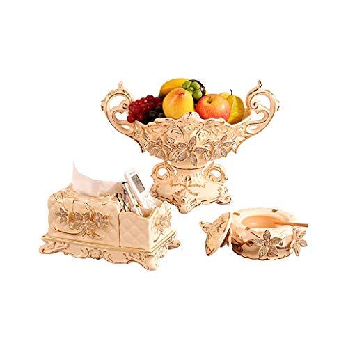 Cesta de Frutas Juego de platos de frutas europeas, sala de estar, mesa de centro, adornos decorativos, platos de frutas de cerámica de alto grado de lujo creativo, hogar de tres piezas Plato de fruta
