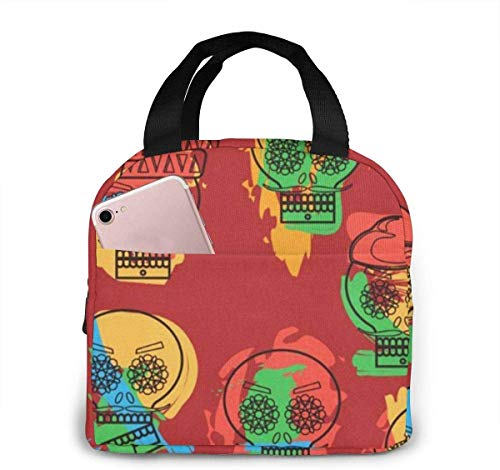 Bolsa de almuerzo con calavera mexicana para mujeres,niñas,niños,bolsa de picnic aislada,bolsa gourmet,bolsa cálida para el trabajo escolar,oficina,camping,viajes,pesca