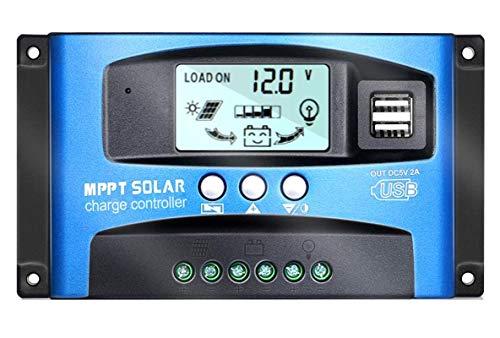 Vehpro MPPT 40A-100A 12V/24V Auto Focus Tracking Solar Panel Regulator Dual USB Port Charge Controller (100A)