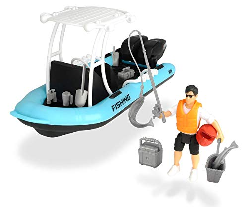 Dickie Toys 203833004 - Playlife Fishing Boat, rubberboot incl. figuur, 20 cm