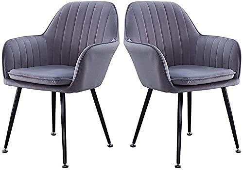 HYRGLIZI Sillas de Comedor de Terciopelo, Juego de 2 sillas auxiliares de Acento tapizadas de Cocina, sillas de recepción para Sala de Estar, Silla de tocador con cojín extraíble (Color: Gris)