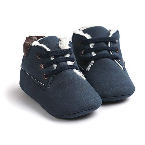 Morbuy Baby Schuhe Baumwolle Winter 0-18 Monate Neugeborene Babyschuhe Mädchen Kleinkind Weiche Alleinige Anti-Rutsch Krabbelschuhe Wanderer Schuhe (12cm / 6-12 Monate, Dunkelblau Plus Samt)