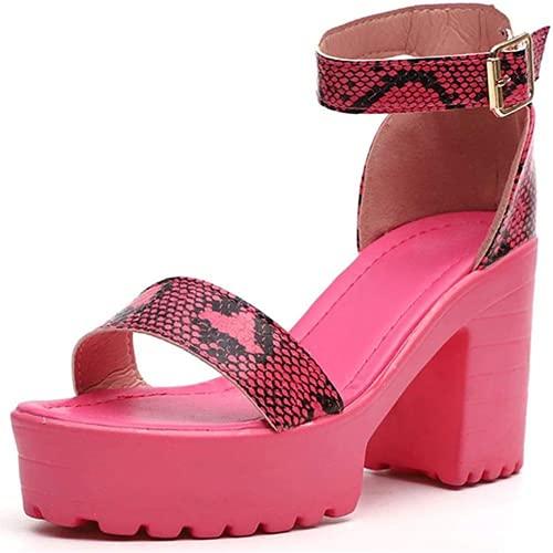 ZBYY - Scarpe estive da donna con tacco grosso, cinturino alla caviglia, punta aperta, soffice piuma, con tacco alto e plateau