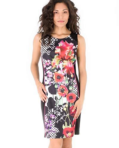 Smash! Vestido Estampado Flores y Gemétrico para Mujer de Verano Cuello Redondo sin Mangas Vestido Corto de Fiesta de Verano para Mujer Dress Espy