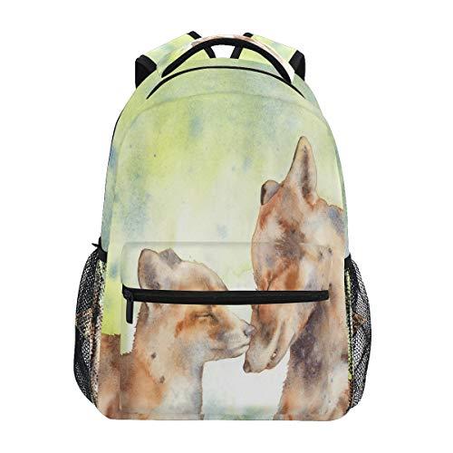 HaJie Backpack Watercolor Fox Animal Pattern Travel Daypack Large Capacity Rucksack Casual School Book Bag Shoulder Straps Computer Laptop Bag for Womens Mens Teenage Girls Boys