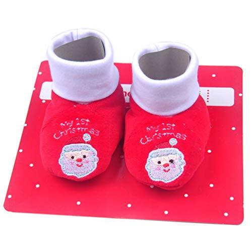 NUOBESTY Baby Weihnachtsschuhe Santa Claus Meine Ersten Weihnachtsstiefel Hausschuhe Krippe Prewalker Winter Warme Schuhe Schuhe für Baby Kleinkinder
