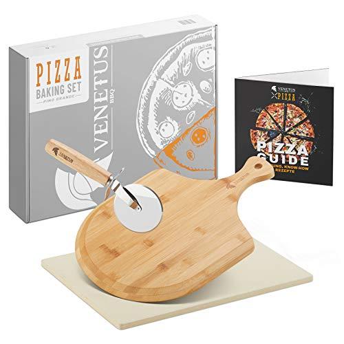 VENETUS-BBQ Pizzastein für Backofen und Gasgrill - inkl. Zubehör (4er Set)