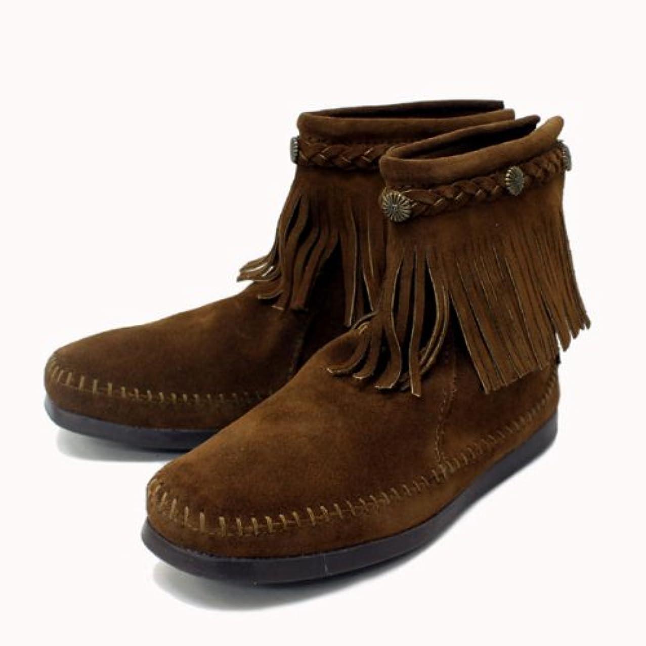 折る研磨電卓[ミネトンカ] Hi Top Back Zip Boots(ハイトップバックジップブーツ)#293 DUSTY BROWN SUEDE レディース MT221