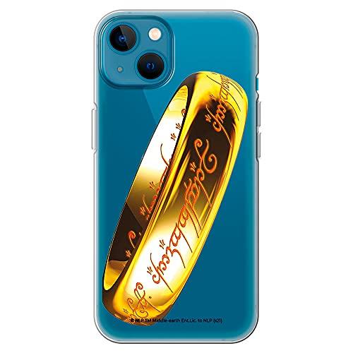 Movilshop Funda para [ iPhone 13 ] LOTR Oficial [Anillo Único Lengua Negra] Tolkien de Silicona Flexible Transparente Carcasa Case Cover Gel para Smartphone.