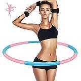 Aoweika Hula Hoop Reifen, Erwachsene Reifen 8 Abschnitt Abnehmbares Design 0.75 kg-1 kg Einstellbar für Anfängermit Gymnastikreifen Zum Abnehmen Fitness Massage, Wellenförmige Kanten Blau und Pink