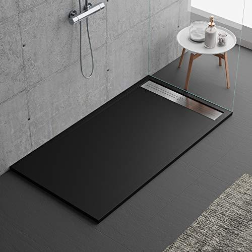 Plato de ducha negro, diseño moderno, modelo Malaga, de mármol y resina con efecto piedra pizarra, luxury, gelcoat, slim 3 cm, negro