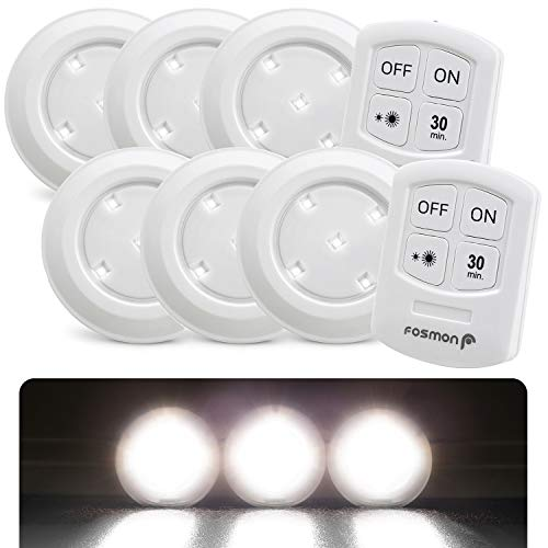 Fosmon Wireless LED Puck Light 3er-Pack mit Fernbedienung [5 weiße Tageslicht-LEDs, breiter Flutlicht, 30-Minuten-Timer, batteriebetrieben] Küchenschrank/Pantry