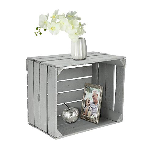 Obstkiste zum Stapeln grau │gebrauchter Vintage Look │Weinkiste aus Holz 50 x 30 x 40 cm (1 x Obstkiste grau)