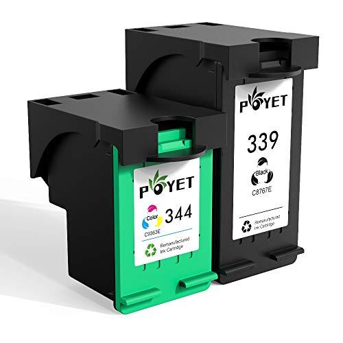 Poyet 339 344 Remanufacturado Cartucho de Tinta Reemplazo para HP 339 344, 339 Negro 344 Colores Cartucho de Impresora Compatible con HP DeskJet 5740/5940/6540/6620/6840/6940 (1 Negro, 1 Tricolor)