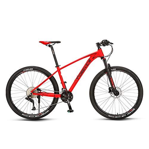 JKCKHA Bicicleta De Montaña para Hombres Y Mujeres, Suspensión Delantera, 33 Velocidades, Ruedas De 26/27,5 Pulgadas, Cuadro Ligero De Aleación De Aluminio, Gris Y Rojo,Rojo,27.5 Inches