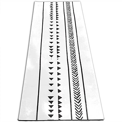 Alfombra de yoga con estampado de rayas triangulares de 5 mm de grosor, antideslizante, para todo tipo de yoga, pilates y ejercicios de suelo (180 cm x 61 cm x 0,5 cm)