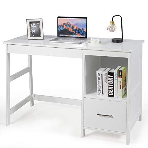 "Tangkula 47.5"" Computer Desk with 2 Storage Drawers, Small Computer Table Study Writing Desk, Modern Home Office Desk Study Desk with Storage Space (White)"
