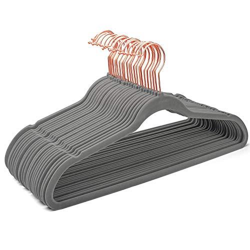 HOUSE DAY Kleiderbügel Samt 50Stück Grau roségold Platzsparende Samtbügel rutschfest D0.6cm L45cm