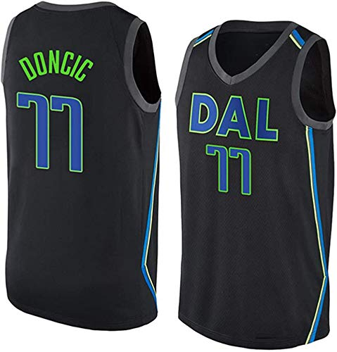 WHYYT NBA Jerseys - NBA Dallas Mavericks # 77 Luka Donic Men's Basketball Jersey, Chaleco sin Mangas Transpirable Bordado,L(175~180CM/75~85KG)