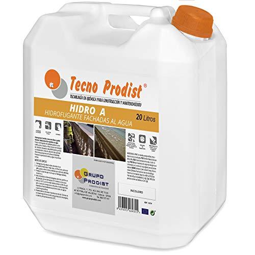 HIDRO A de Tecno Prodist - 20 Litros - Impermeabilizante Transparente al agua, Hidrofugante Incoloro para fachada, tejado, pared, muro, teja, ladrillo y piedra. (A Rodillo, brocha o pulverizad