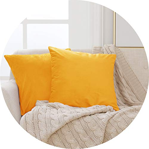 Deconovo Functional Crushed Velvet Cushion Protectors Plain Throw Pillow Cases Square Cushion Covers for Teens Girls with Invisible Zipper Gold Yellow 45cm x 45cm 18x18 Inches 2 Pieces