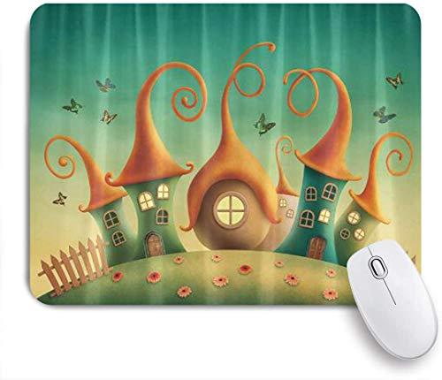 Dekoratives Gaming-Mauspad,Märchenhaus Schmetterling Holzzaun,Bürocomputer-Mausmatte mit rutschfester Gummibasis