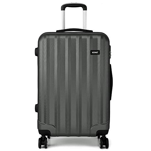 Kono Carry-on Luggage Super Lightweight Hard Shell ABS 20 Inch Cabin Suitcase with 4 Spinner Wheels (Grey)