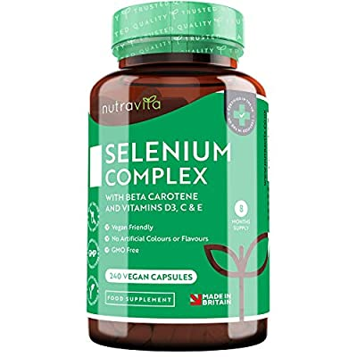 Selenium Complex with Beta Carotene and Vitamins D3, C & E – Contributes to Normal Function of The Immune System – 240 Vegan Capsules – 8 Month Supply – Made in The UK by Nutravita