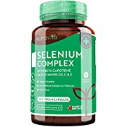 Selenium Complex 200mcg with Beta Carotene, Vitamin D3, C & E – 240 Vegan Capsules – 8 Month Supply – for Maintenance of Normal Hair, Nails, Immune System & Thyroid Function – Made in UK by Nutravita