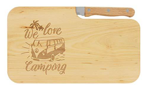 LASERHELD nachhaltiges Brotzeitbrett Schneidebrett Jausenbrett Holz Messer Geschenk Männer Frauen Geschenkidee für Ihn & Sie_we Love Camping