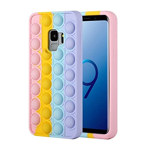 Fidget Toys Phone Case for Galaxy S9Plus, Clysburtuony Funny Silicone Push Pop Bubble Protecive Cover for Samsung Galaxy S9Plus (Colour, Galaxy S9Plus)