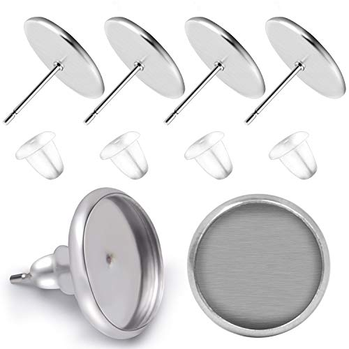 BronaGrand 50 Pieces Stainless Steel Stud Silver Earring Cabochon Setting Post Cup for 10mm and 50 Pieces Clear Rubber Earring Safety Backs