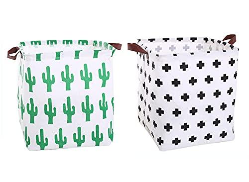 Onlyup 2 cestas de almacenamiento de tela plegables para juguetes, para habitación infantil, hogar, armario, oficina, 32 x 32 x 32 cm (estilo A)