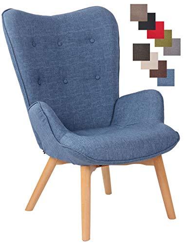 CLP Sillón Orejero Nórdico Durham Tapizado En Tela I Butaca De Salón En Estilo Escandinavo I Sillón De Lectura con Base De Madera I Color:, Color:Azul