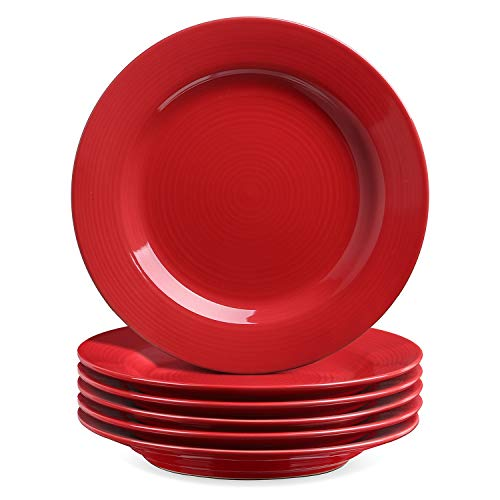 LE TAUCI Salad Plates Sets, Ceramic Plates for Dessert, Appetizers, Snacks, Pasta - Set of 6,8 Inch,TURE RED