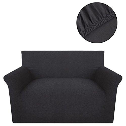 SENLUOWX Housse élastique pour canapé de Point de Coton Couleur Anthracite