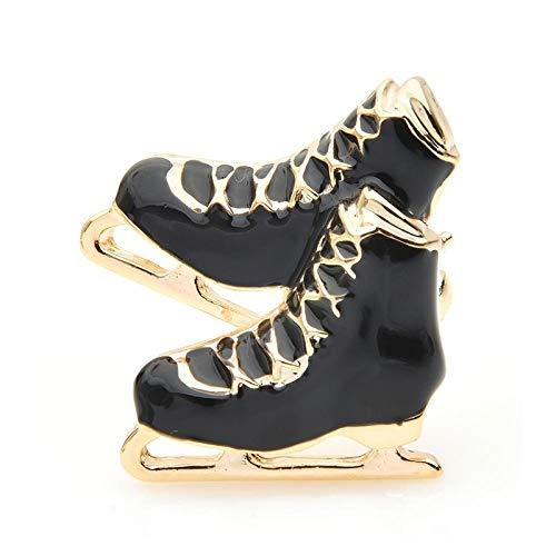 U/N Negro Blanco Rojo Patines de Hielo broches Mujeres Hombres aleación Esmalte Zapatos Patinaje Deportes Broche Pines Regalos de Año Nuevo
