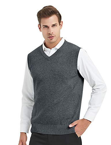 TOPTIE Mens Business Solid Color Plain Sweater Vest, Cotton Fit Casual Pullover-Charcoal-L