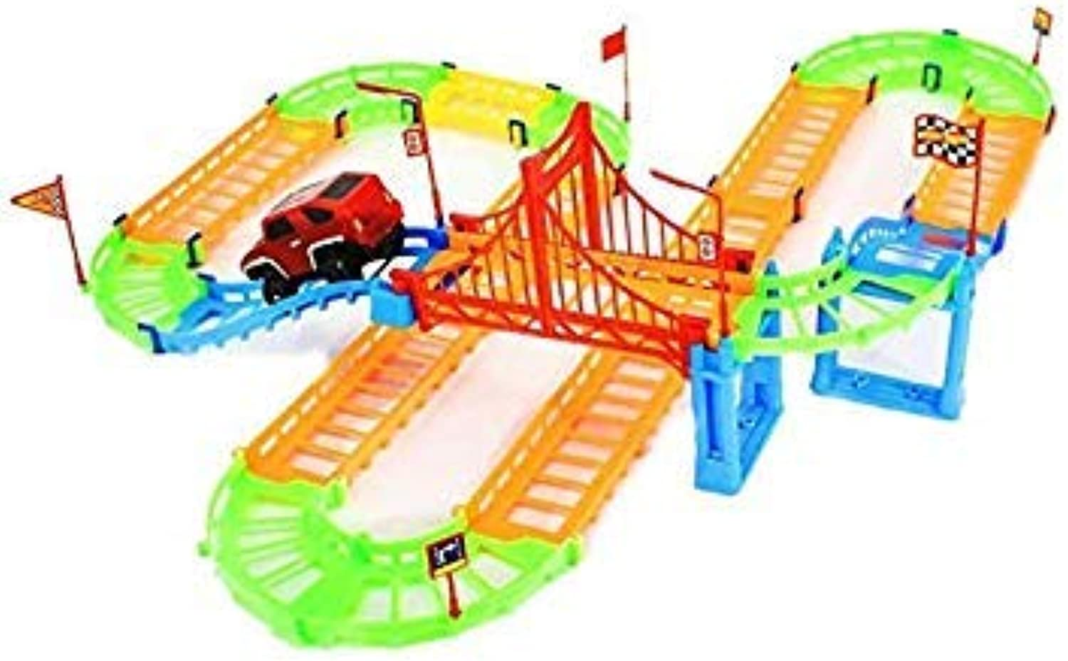 DIY 3D Electric Rail Speed Car Train Model Fun Assemble Toy for Kids Boys Car color Random delivery A