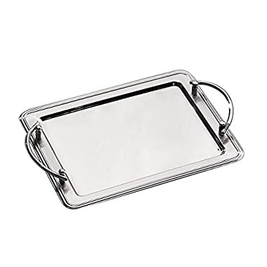 Elegance Silver 73029 Rectangular Stainless Steel Tray with Handles, 14  x 11