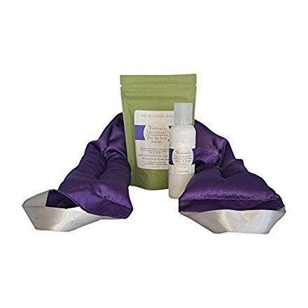 Victoria's Lavender Neck WRAP Gift Set with Lavender Bath Salts, Lavender Lotion | Perfect for Aromatherapy Gift for Relaxation and Good Night's Sleep | Made in USA