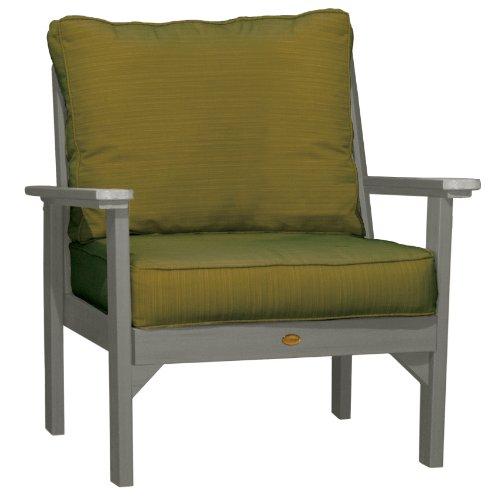 Hot Sale Highwood Pocono Deep Seating Armchair, Coastal Teak with Sunbrella Dupione Palm Cushions