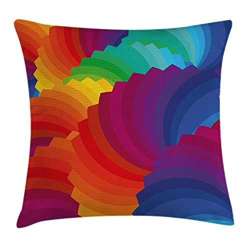 Funda de Almohada Colorida para decoración del hogar, diseño de Concha Marina de Degradado Inspirado en la Paleta de Dimensiones onduladas, Rayas artesanales, 18 x 18 Pulgadas, Multicolor