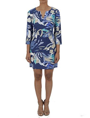 Aryeh V-Neck Shift Dress (Small, Blue/Grey)