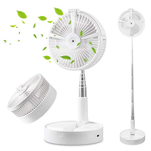 SUPOW Portable Desk Table Fan Height Adjustable Folding Telescopic Floor Fan USB Rechargeable Personal Fan Travel Fan with 4 Wind Speeds Air Humidifier LED Lamp and Night Light